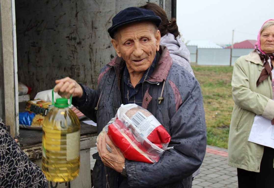 Bewohner in den Dörfern der Region Aktobe erhielten Lebensmittelpakete